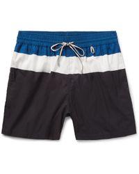 Loro Piana - - Mid-length Striped Swim Shorts - Midnight Blue - Lyst