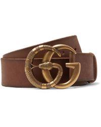 Gucci - 4cm Tan Burnished-leather Belt - Lyst