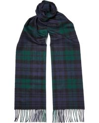 Johnstons - Black Watch Checked Cashmere Scarf - Lyst