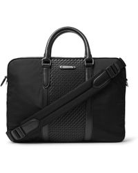 Ermenegildo Zegna - Nylon And Pelle Tessuta Leather Briefcase - Lyst