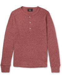RRL - Slim-fit Waffle-knit Mélange Cotton Henley T-shirt - Lyst