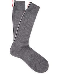 Thom Browne | Striped Ribbed Merino Wool Socks | Lyst