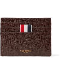 Thom Browne - Striped Pebble-grain Leather Cardholder - Lyst