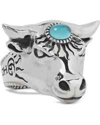 Gucci | Bull's Head Sterling Silver And Glass Ring | Lyst