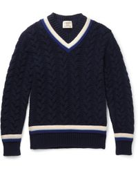 Kent & Curwen - Woodvale Cable-knit Wool Cricket Sweater - Lyst