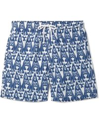 Anderson & Sheppard - Slim-fit Mid-length Printed Swim Shorts - Lyst