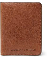 Brunello Cucinelli - Burnished Full-grain Leather Bifold Cardholder - Lyst