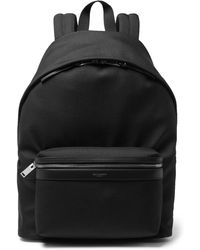 Saint Laurent - City Leather-trimmed Canvas Backpack - Lyst