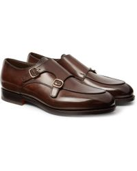 Santoni - Polished-leather Monk-strap Shoes - Lyst
