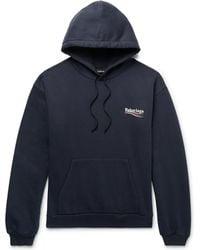 Balenciaga - Printed Fleece-back Cotton-blend Jersey Hoodie - Lyst