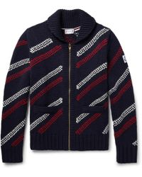 Moncler Gamme Bleu - Jacquard-knit Wool Zip-up Cardigan - Lyst
