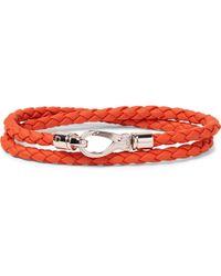 Tod's | - Woven Leather Wrap Bracelet - Papaya | Lyst