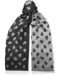 Alexander McQueen - Reversible Printed Wool And Silk-blend Scarf - Lyst