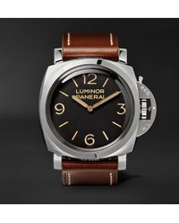 Officine Panerai - Luminor 1950 3 Days Acciaio 47mm Stainless Steel And Leather Watch - Lyst