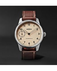 Weiss - Special Issue 42mm Stainless Steel And Leather Field Watch - Lyst
