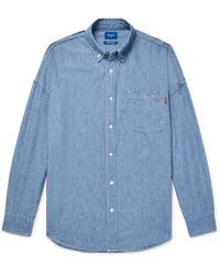 Beams Plus - Button-down Collar Indigo-dyed Cotton-chambray Shirt - Lyst