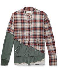 Greg Lauren - Grandad-collar Panelled Distressed Cotton Shirt - Lyst