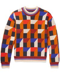 JOSEPH - Intarsia Wool And Cashmere-blend Sweater - Lyst