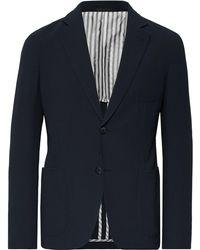Giorgio Armani - Storm-blue Upton Slim-fit Virgin Wool-seersucker Suit Jacket - Lyst