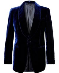 Tom Ford - Navy Shelton Slim-fit Velvet Tuxedo Jacket - Lyst