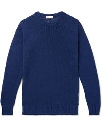 Etro - Garment-dyed Ribbed Cotton And Linen-blend Jumper - Lyst