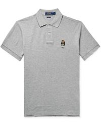 Polo Ralph Lauren - Embroidered Mélange Cotton-piqué Polo Shirt - Lyst