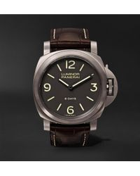 Officine Panerai | Luminor Base 8 Days Titanio 44mm Brushed-titanium And Alligator Watch | Lyst