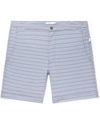 Onia - Calder Long-length Striped Stretch-seersucker Swim Shorts - Lyst