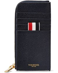 Thom Browne - Grosgrain-trimmed Pebble-grain Leather Zip-around Wallet - Lyst