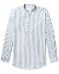 Richard James - Grandad-collar Striped Cotton And Linen-blend Half-placket Shirt - Lyst
