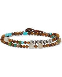 Peyote Bird - Tiger's Eye, Turquoise, Rutilated Quartz And Sterling Silver Wrap Bracelet - Lyst