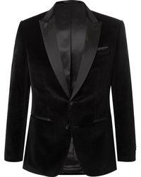BOSS - Black Helward Slim-fit Satin-trimmed Cotton-velvet Tuxedo Jacket - Lyst