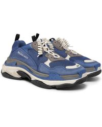 Balenciaga - Triple S Mesh, Suede And Leather Trainers - Lyst