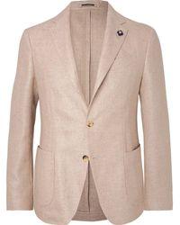 Lardini | Stone Unstructured Wool And Linen-blend Hopsack Blazer | Lyst