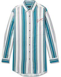 Balenciaga - Oversized Button-down Collar Striped Cotton-twill Shirt - Lyst