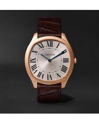 Cartier - Drive De 18-karat Pink Gold And Alligator Watch - Lyst
