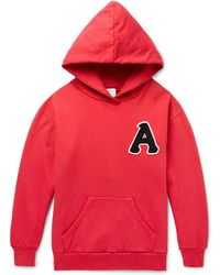 Aries - Mr Wolf Embroidered Fleece-back Jersey Hoodie - Lyst