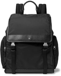 Montblanc - Sartorial Jet Cross-grain Leather-trimmed Nylon Backpack - Lyst