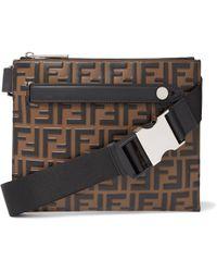 Fendi - Logo-embossed Leather Messenger Bag - Lyst