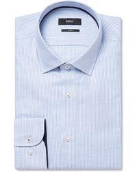 BOSS - Light-blue Jesse Slim-fit Puppytooth Cotton-poplin Shirt - Lyst