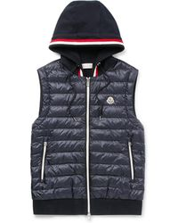 Moncler - Slim-fit Quilted Shell And Loopback Cotton-jersey Hooded Gilet - Lyst