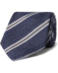 Kingsman - Drake's 8cm Striped Silk And Linen-blend Tie - Lyst