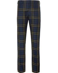 JOSEPH - Navy Jack Slim-fit Prince Of Wales Checked Cotton-twill Trousers - Lyst