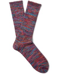 Anonymous Ism - Mélange Cotton-blend Socks - Lyst