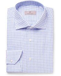 Canali - Slim-fit Cutaway-collar Checked Linen Shirt - Lyst