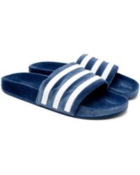 Adidas Originals | Adilette Striped Velvet Slides | Lyst