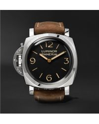 Officine Panerai - Luminor 1950 Left-handed 3 Days Acciaio 47mm Stainless Steel And Leather Watch - Lyst