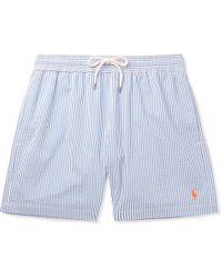 Polo Ralph Lauren - Mid-length Striped Cotton-blend Seersucker Swim Shorts - Lyst
