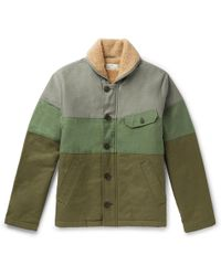 Universal Works - N1 Shawl-collar Faux Shearling-lined Striped Canvas Jacket - Lyst