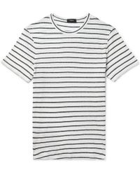 Theory - Striped Cotton And Linen-blend T-shirt - Lyst